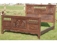 19TH CENTURY, ANTIQUE, FRENCH CARVED OAK, BRETTON, MARRIAGE DOUBLE BED