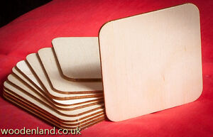10 WOODEN SQUARES / UNPAINTED NEW 10 WOODEN COASTERS 95MM / ART CRAFT DECOUPAGE
