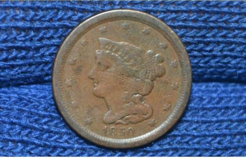1850 HALF CENT ** FINE Details ** NICE BROWN ** Take 5% Off Right Now !