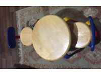 Children table and 2 chairs - wooden pine solid unit