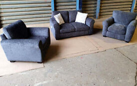 2+1+1 Seater Fabric Sofas - Charcoal. Local delivery available.