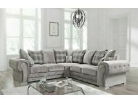 💯HUGE SALEOFF VERONA GREY FABRIC CORNER SOFA SUITE / 3+2 SEATER SETTEE AVAILABLE FOR DELIVERY