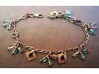 sterling silver teal charm bracelet