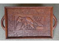 WOODEN INDIAN / AFRICAN ELEPHANT TRAY TRIBAL ART 25.5ins