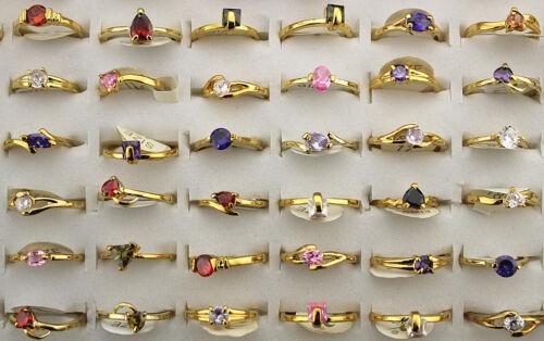 Wholesale Mixed Lots 50pcs Cubic Zirconia Gold P Multicolor Women Rings