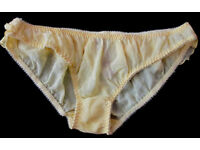 Yellow sheer ruffles frilly low rise briefs knickers panties Size: M