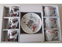 KAHVE FINCANI ISTANBUL HEDIYE CANTALI (V-07) / ISTANBUL COFFEE CUP WITH A BAG