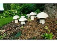 Stone effect garden mushrooms