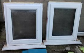 Two White UPVC Windows - Opaque Glass