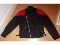 Belstaff Black Red Outlaw Classic Motorcycle Racer Biker Jacket Size Small/Medium