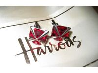 BEAUTIFUL HARRODS - RED CRYSTAL CUFFLINK