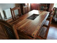 Solid wood Dining table + 6 chairs
