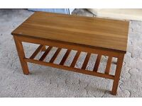 "Teak Style Coffee Table, 30"" length, 15"" Width. 16"" Height."