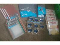 Office stuff, Laminating pouches, sticky tape, folders, tape dispenser, sticky notes