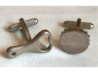pewter bottle opener and cap cufflinks
