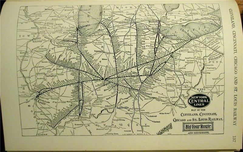 NICE 1930 NEW YORK CENTRAL BIG FOUR RAILROAD SYSTEM MAP