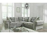 💯CLOSEOUT SALE CHESTERFIELD GREY PLUSH FABRIC 3+2 SOFA SUITE AND CORNER UNIT ON SALE!!