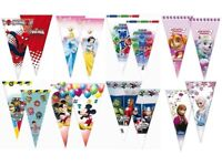 6 Childrens Kids Character Themed Plastic Sweet Cones Party Bag