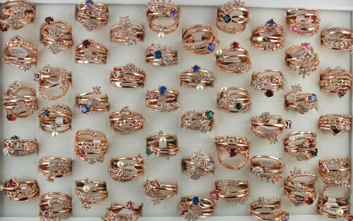 Wholesale Mixed Lots 30pcs Charm Rose Gold P Jewelry CZ 4 In 1 Lady