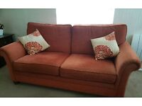 Fabric sofa and matching armchair