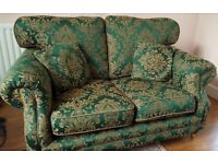 Victorian Style Two Seater Sofa in Emerald Green and Gold Excellent Condition