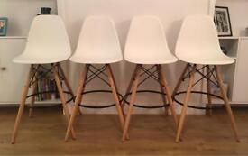 Set of 4 Dining Room Chairs Tall White Wooden Black