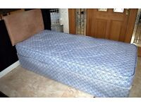 Single bed divan with mattress and headboard