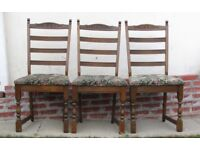 3 Vintage dining chairs carved solid wood chairs ladder back DELIVERY AVAILABLE WITHIN LE3