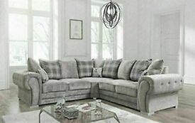 💯BIGGEST SALE OF THE SEASON CHESTERFIELD GREY PLUSH FABRIC 3+2 SOFA SUITE AND CORNER UNIT ON SALE!!