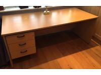 High Quality Large Office or Study Desk with 3 Drawers - Light Beech Finish