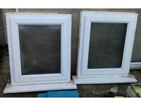Two White UPVC Windows - Opaque Glass