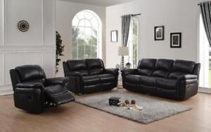 Reclining Set Made With Supreme Quality Genuine Leather Sofa in Black for Sale (GL1112)