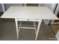 IKEA INGATORP White Drop Leaf Table with Drawer (4 matching chairs available)