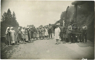 SCENE - MEN WOMEN WITH BROOM, STEAM TRACTOR -VINTAGE REAL PHOTO POSTCARD RUSSIA?