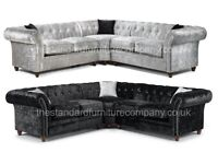 Derby Chesterfield Crushed Velvet Corner Sofa - FREE DELIVERY & SET UP IN ANY ROOM TO 90% OF THE UK
