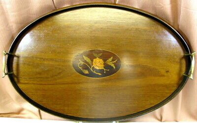 Antique Large Oval Butlers Tray w/Floral Inlay & Brass Handles 23