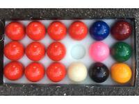 Set of 1 7/8 inch snooker balls.