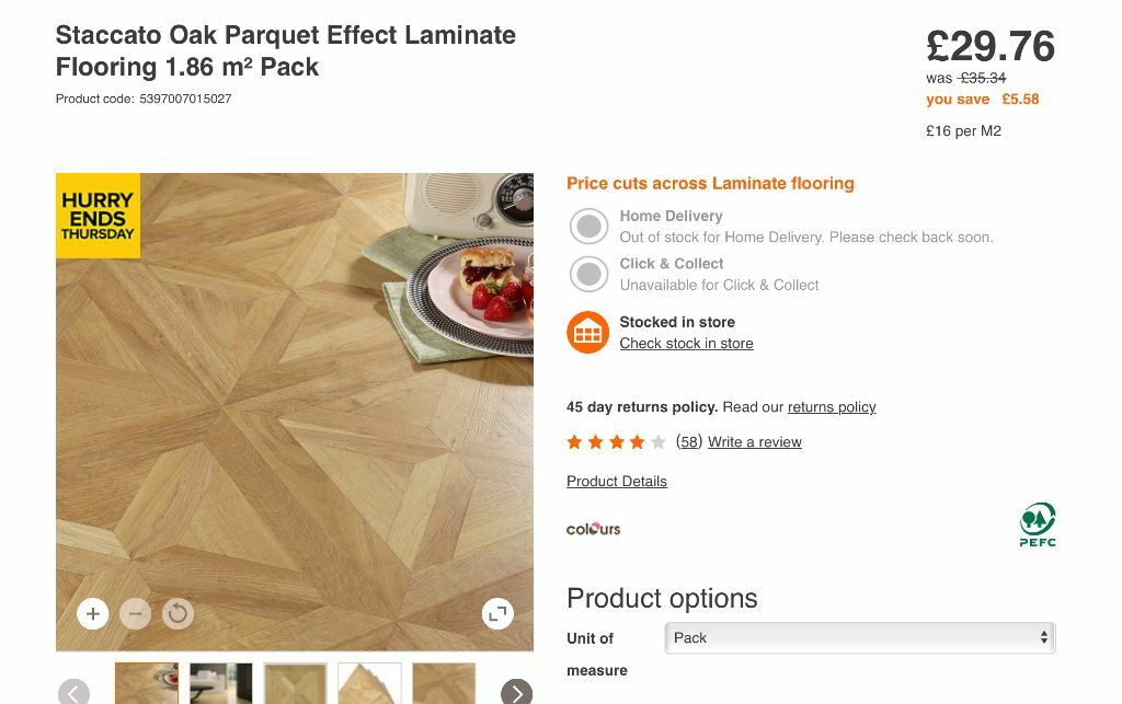Staccato Oak Parquet Effect Laminate Flooring Used Good Condition