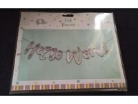 BRAND NEW: Hello World Garland Sign Boy Girl Party Reveal Silver Baby Shower/ Christening