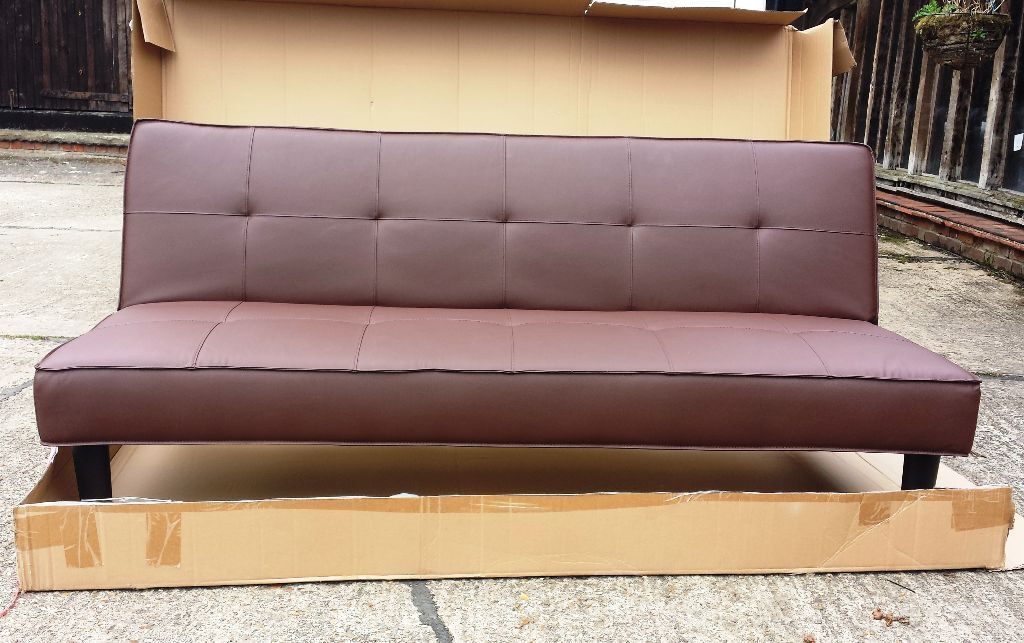 Brand new patsy leather effect clic clac sofa bed chocolate in colchester - Futon pour clic clac ...