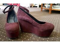 Purple/burgandy wedges from Office, size 38 (UK 5)