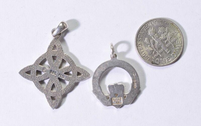 2 Celtic necklace Charm Pendant Solvar Claddagh Sterling Ireland