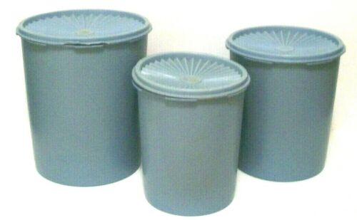 Tupperware Servalier Blue Canisters 3 Lids One Touch Seal Storage Scoop