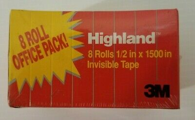 8 Roll Office Refill Pack 3m Highland Invisible Tape - 0.50 X 1500 - 1 Core
