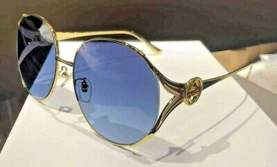 New Authentic Gucci GG0225S 004 Gold Blue Oversize Women Sunglasses