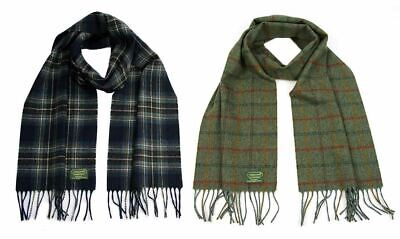 Navy Country Lambswool - Glencroft 100% Lambswool Scarf - Country Checks - Made in Britain - Green/Navy