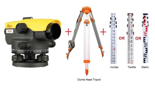 Leica Auto Level NA320 with Tripod & Rod Package by Leica Authorized Distributor