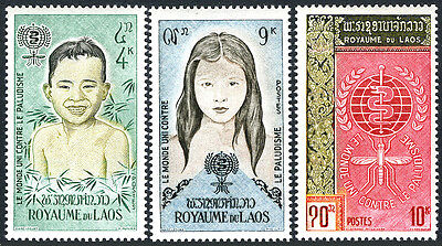 Laos 74-76, MNH. WHO drive to eradicate Malaria. Boy, Girl, Emblem, 1962