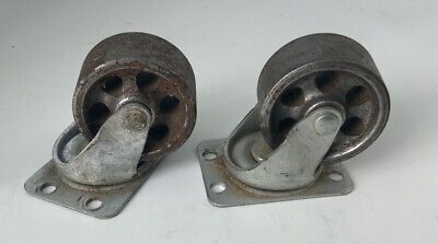 2 Vintage Matching Metal Caster Wheels Industrial Steam Punk Swivel