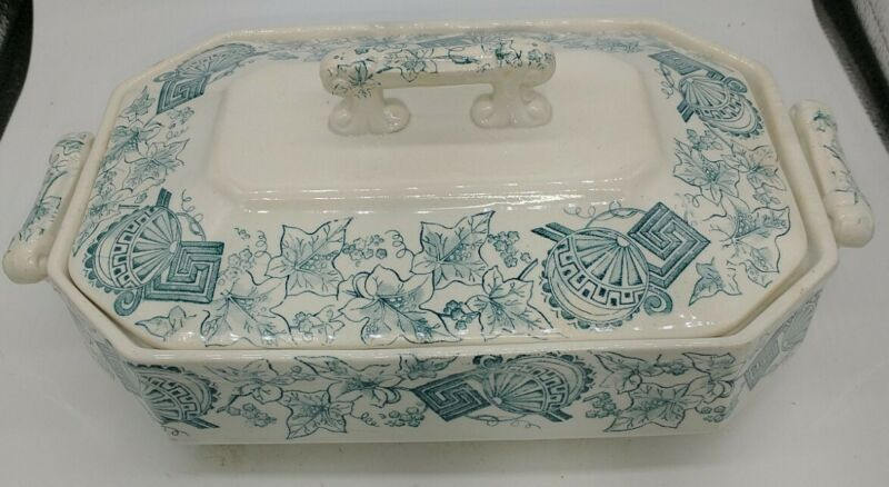 Vintage Meakin England Royal Ironstone Covered Vegetable Dish Rectangular unique
